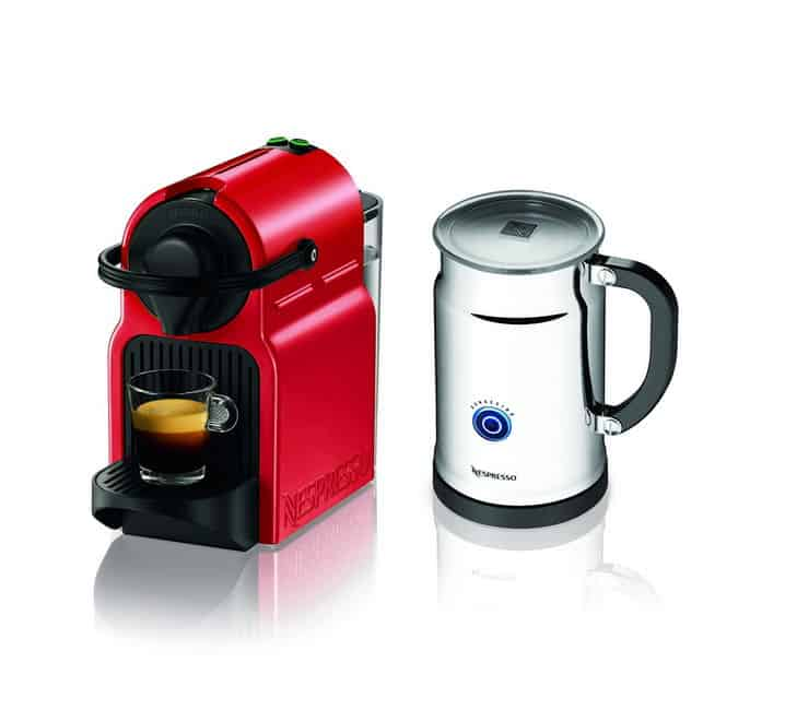 Nespresso Inissia Red Bundle With Aeroccino Plus Milk Frother