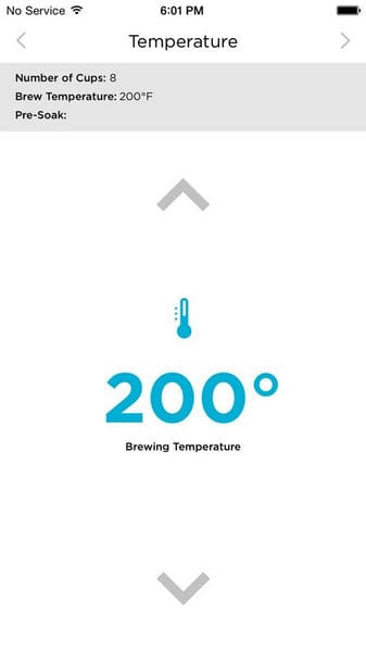 Behmor Connected Smartphone App Set Temperature