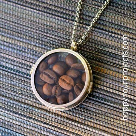 coffee locket necklace