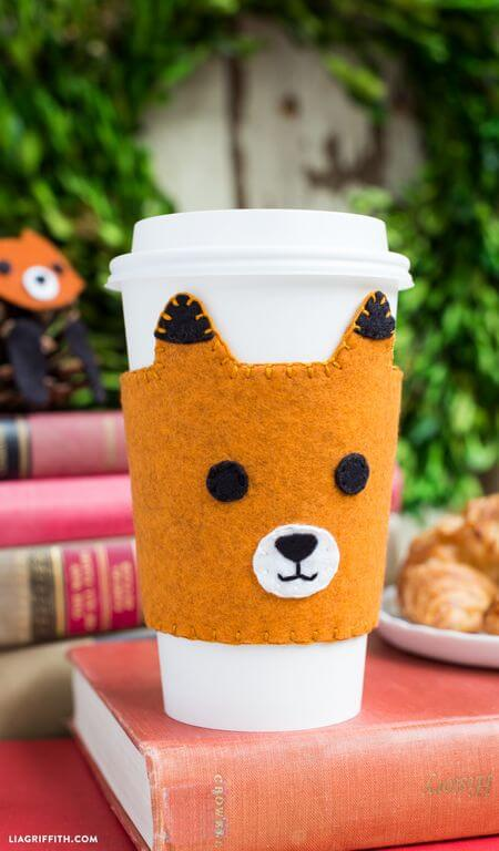 felt fox coffee sleeves