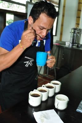 professional coffee grader is cupping coffee