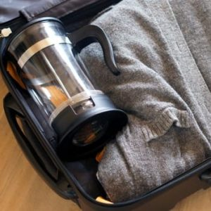 french press in suitcase