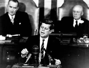 John F Kennedy giving speech