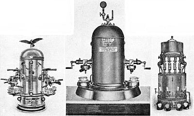 Types of italian rapid coffee making machines 1903-1904