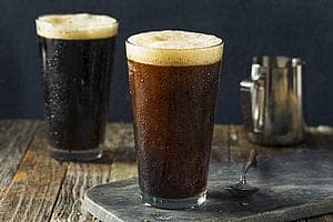 nitro cold brew coffee two glasses