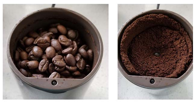An image of raw and grind coffee beans.