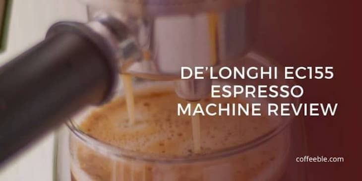 a close up photo of the delonghi ec155 with a text overlay