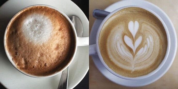 a side by side photo showing a cup of cappuccino vs a cup of latte