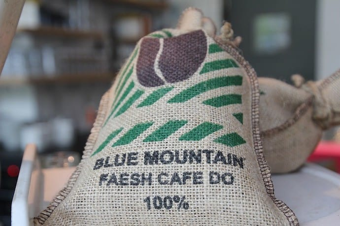 a bag of blue mountain coffee beans