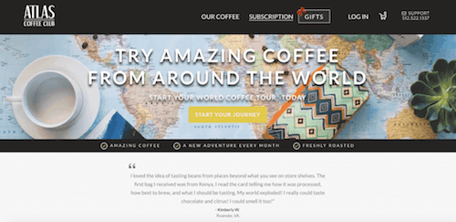 a screenshot of the Atlas Coffee website