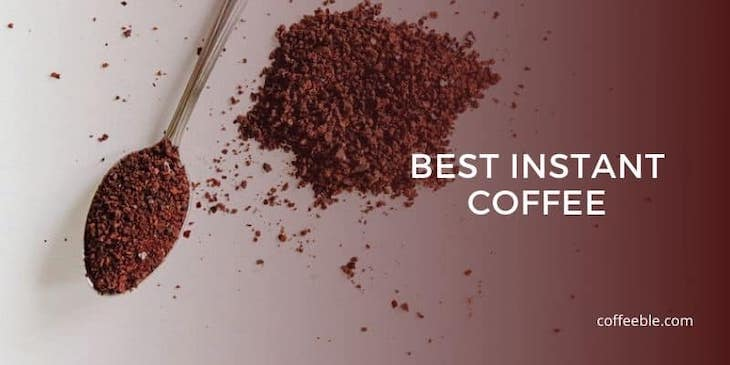instant coffee grounds on a spoon and flat surface