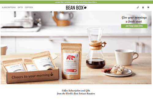 A screenshot of the Bean Box website