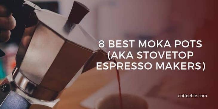 coffee pouring our of a moka pot