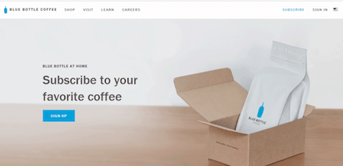 A screenshot of the Blue Bottle Coffee website