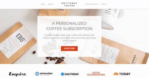driftaway coffee subscription website