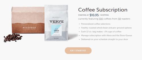 A screenshot of the Mistobox Coffee Subscription website