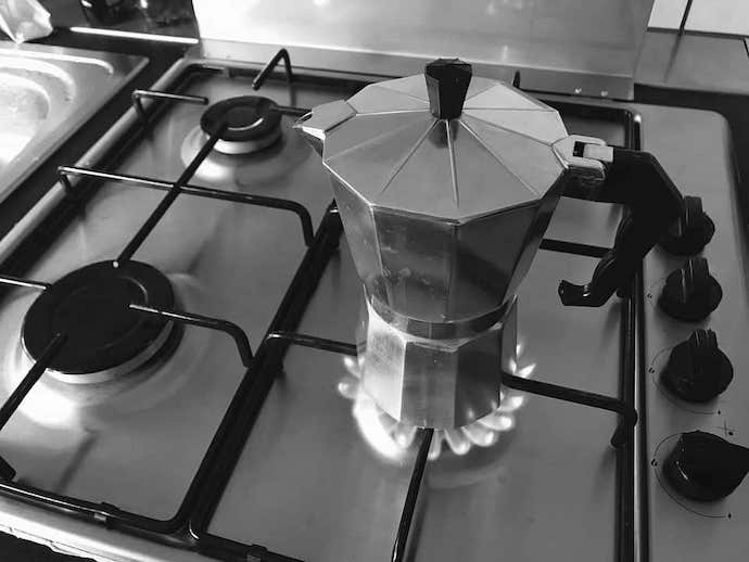 one of the best moka pots on top of a stove