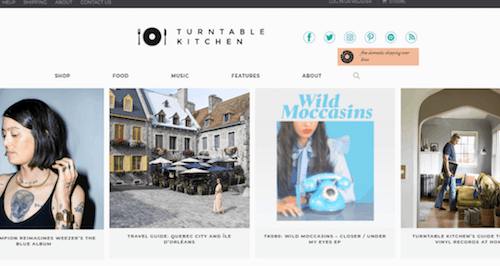A screenshot of the Turntable Kitchen website