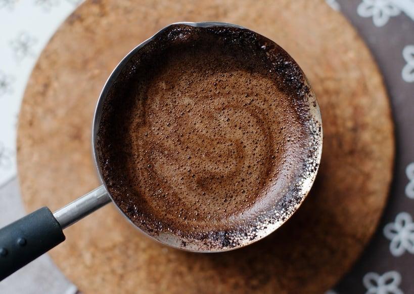 turkish coffee ingredent in pan